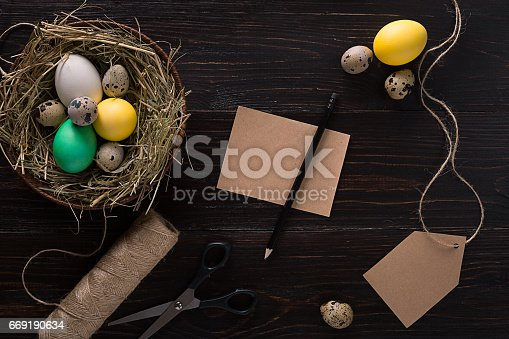 istock Colorful easter egg in nest on dark wood board 669190634