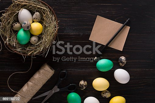 669181586 istock photo Colorful easter egg in nest on dark wood board 669190722