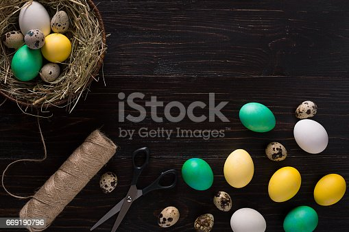 istock Colorful easter egg in nest on dark wood board 669190796