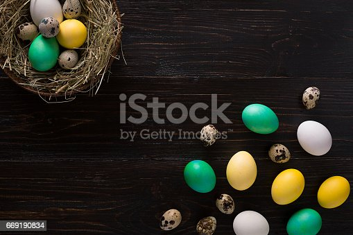 istock Colorful easter egg in nest on dark wood board 669190834
