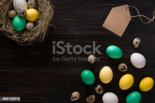 istock Colorful easter egg in nest on dark wood board 669190878