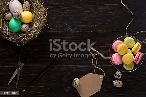 istock Colorful easter egg in nest on dark wood board 669191020