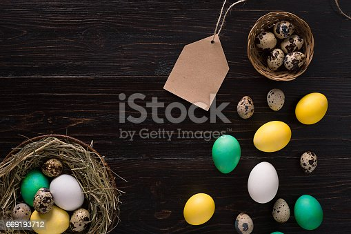 istock Colorful easter egg in nest on dark wood board 669193712