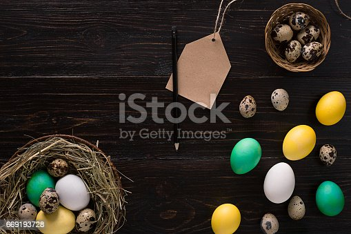 istock Colorful easter egg in nest on dark wood board 669193728