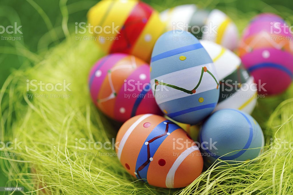 Colorful easter egg nest on green background stock photo
