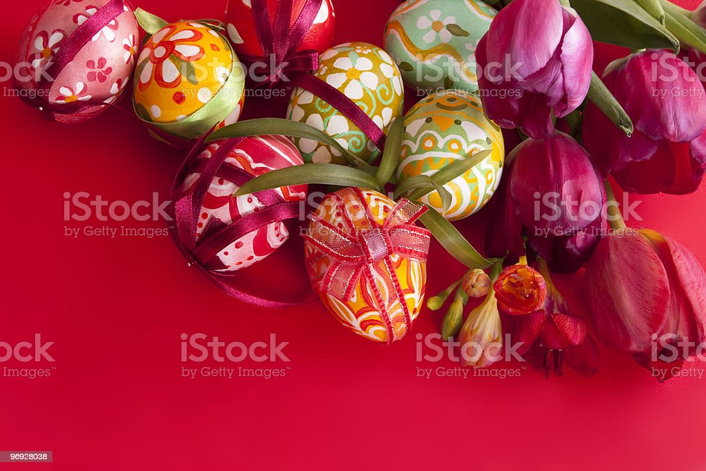 colorful easter eggs and flower royalty-free stock photo