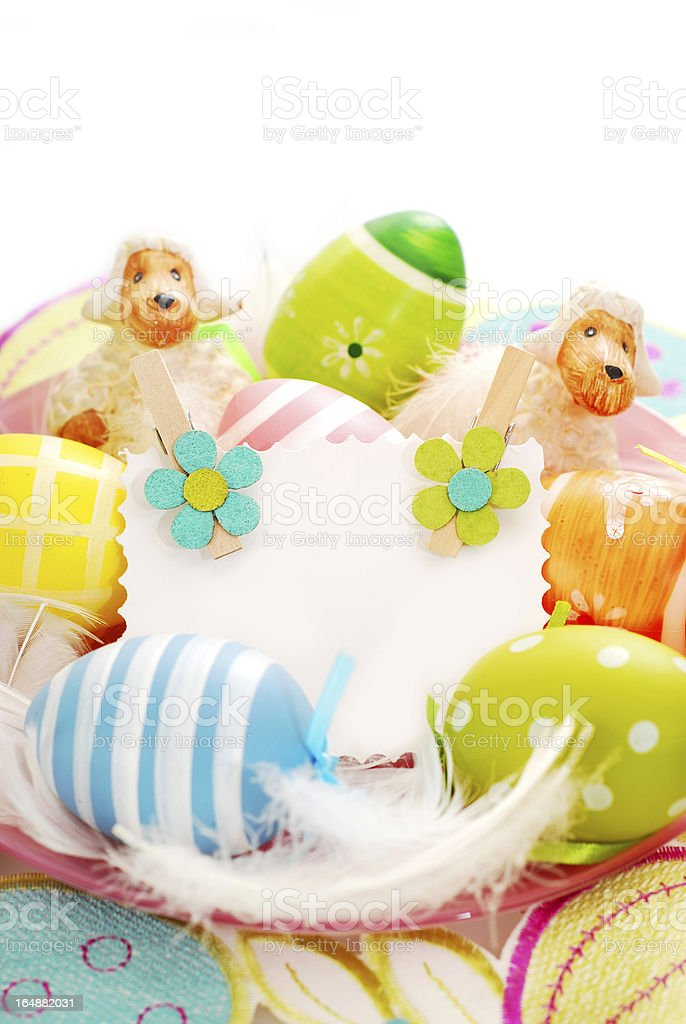 colorful easter eggs and greetings card royalty-free stock photo