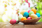 Colorful easter eggs and spring flowers on green nature background