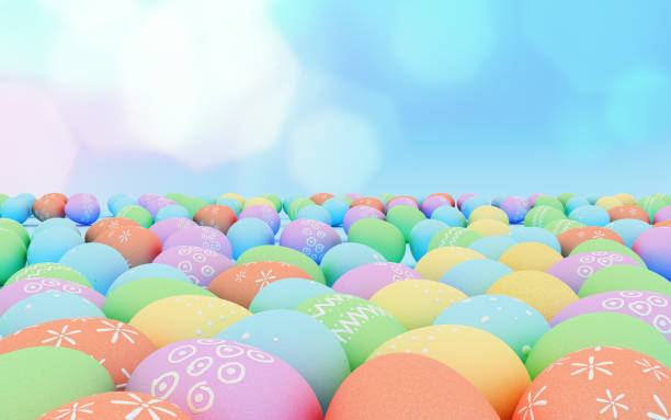 Colorful Easter eggs background,pastel, hand painted Easter eggs. stock photo