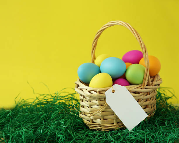Colorful Easter Eggs Basket stock photo