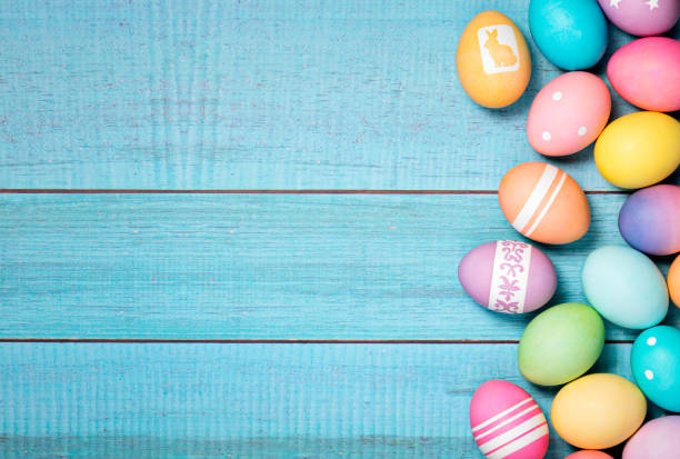 Colorful Easter Eggs Border stock photo