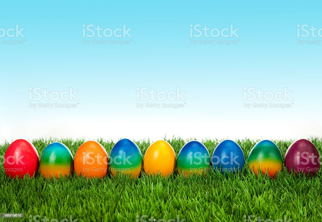 Colorful Easter Eggs Decorated on Green Grass royalty-free stock photo