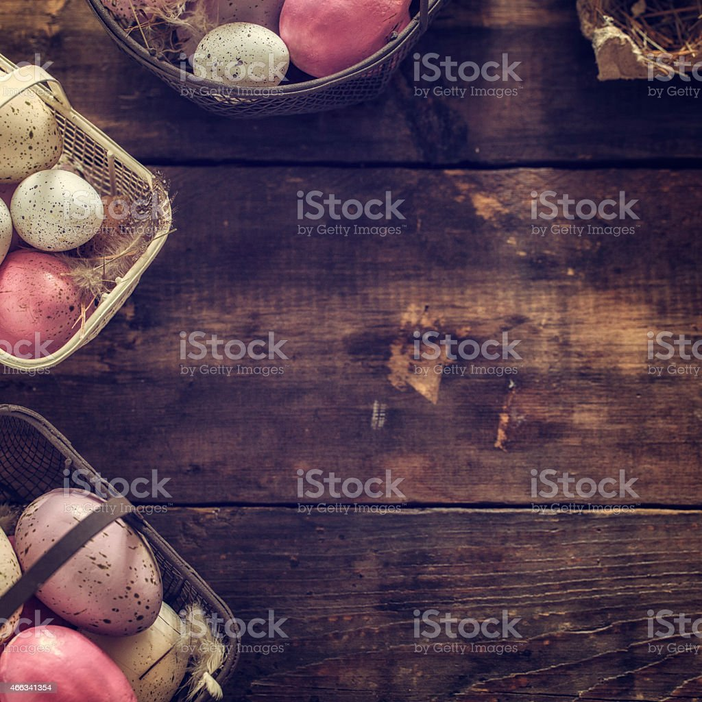 Colorful Easter Eggs Decorated on Wooden Background stock photo