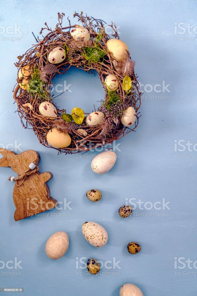Colorful Easter Eggs Decoration on Wooden Background royalty-free stock photo