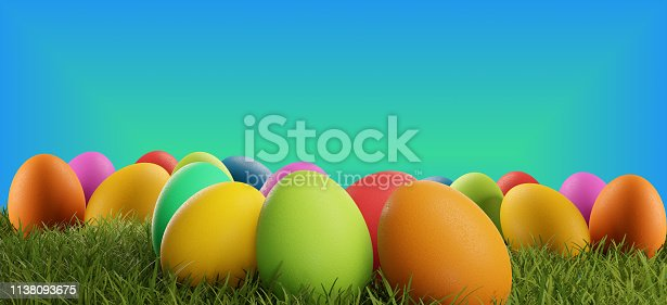 istock colorful Easter eggs green grass creative 3d-illustration 1138093675