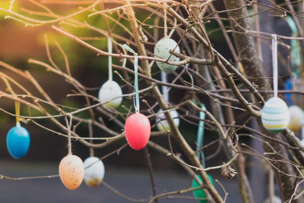 Bunte Ostereier in einem Baum hängen – Foto