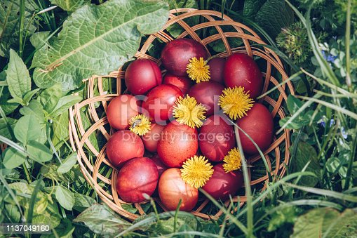 922661892 istock photo Colorful easter eggs in basket. Happy Easter, Christian religious holiday. 1137049160