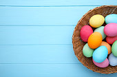 Colorful easter eggs in basket on blue wooden background