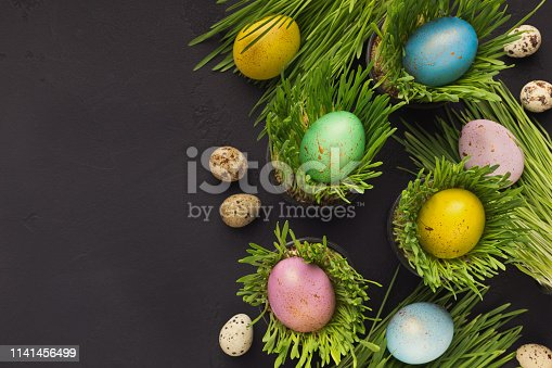 912300146 istock photo Colorful easter eggs in green grass on gray background 1141456499