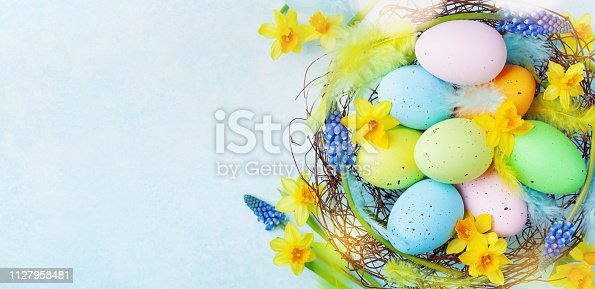 istock Colorful Easter eggs in nest and spring flowers on rustic table top view. Holiday card or banner. 1127958481