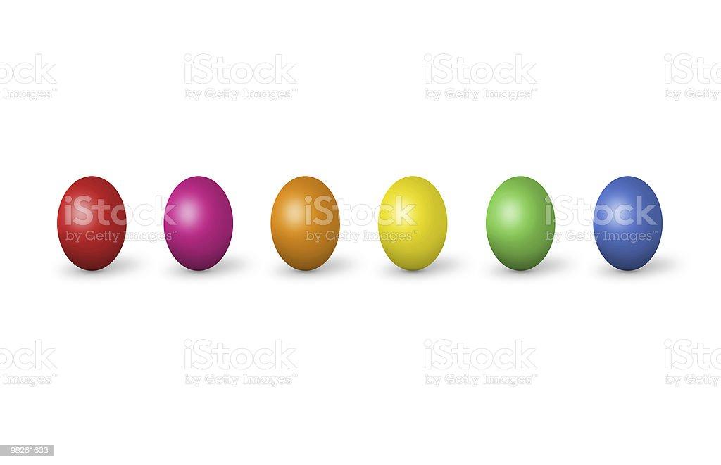 Uova di Pasqua colorate, isolato su bianco foto stock royalty-free