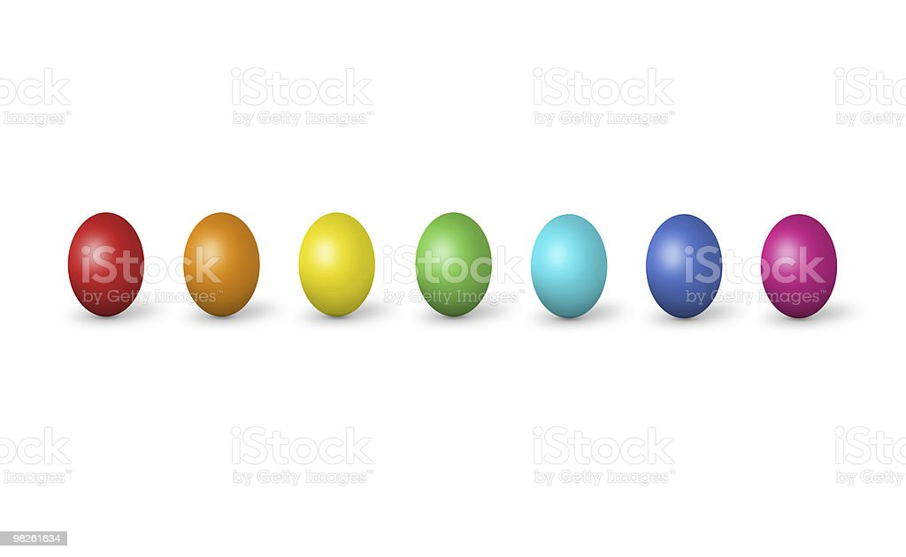 Colorful easter eggs isolated on white royalty-free stock photo