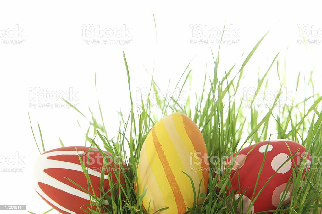 Colorful Easter eggs on grass royalty-free stock photo