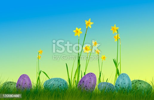 639245704 istock photo Colorful easter eggs on grass with daffodils and colorful background 1205804661