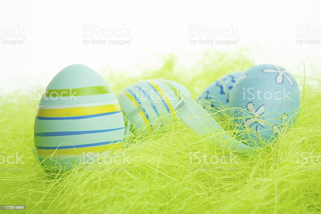 colorful easter eggs on white stock photo