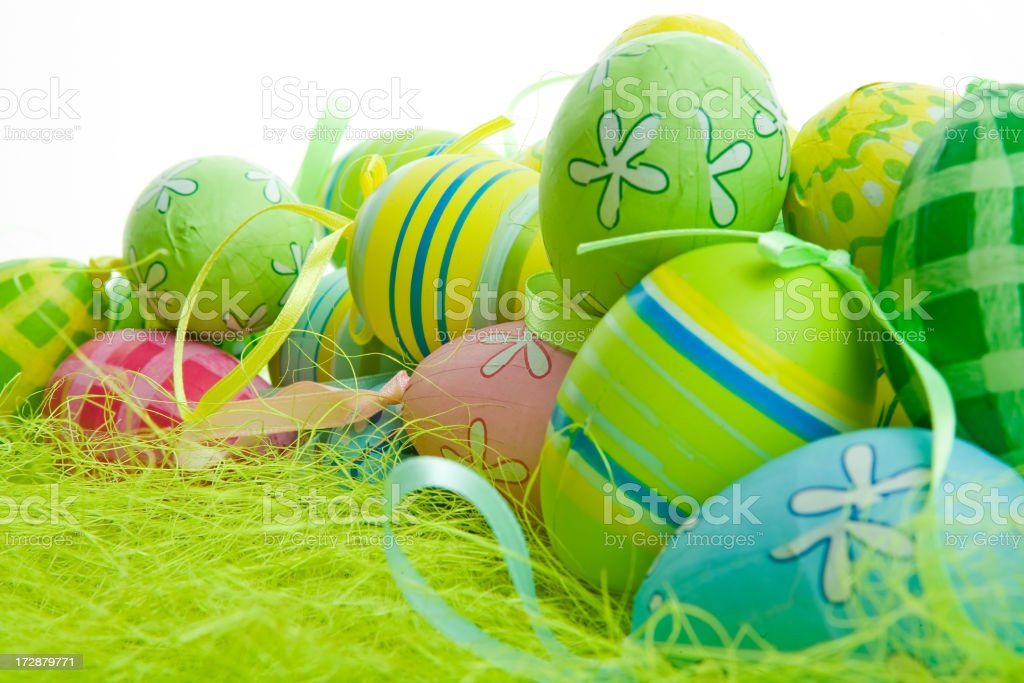 colorful easter eggs on white royalty-free stock photo