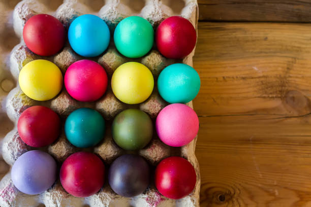 colorful easter eggs on wood - greek easter stock photos and pictures