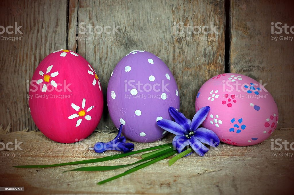 Colorful Easter Eggs on wooden background royalty-free stock photo