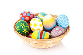"""""""Colorful Easter eggs in a basket, isolated on whiteSee more Easter photos, click on the image below for lightbox"""""""