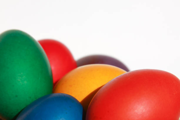Colorful Easter eggs texture white background stock photo