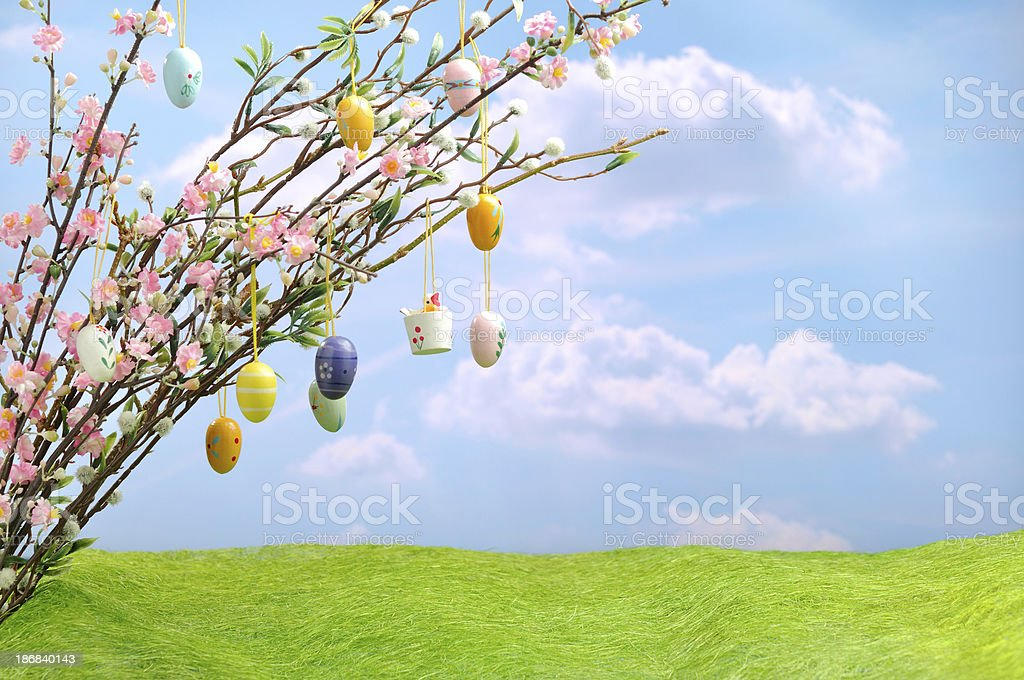 Colorful Easter Eggs with a Spring Twig royalty-free stock photo