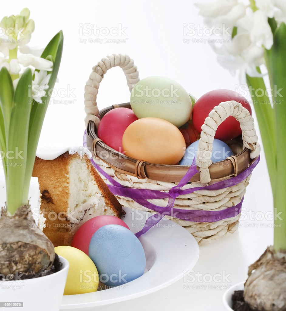 Colorful Easter Eggs with flowers royalty-free stock photo