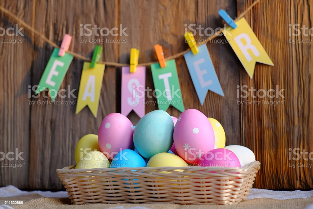 Colorful Easter Hanging On Line stock photo