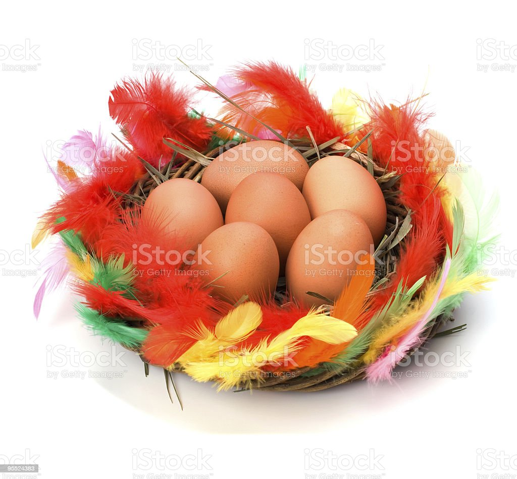 Colorful Easter nest with eggs royalty-free stock photo