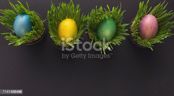 912300146 istock photo Colorful eggs in grass pots on black background 1141456498