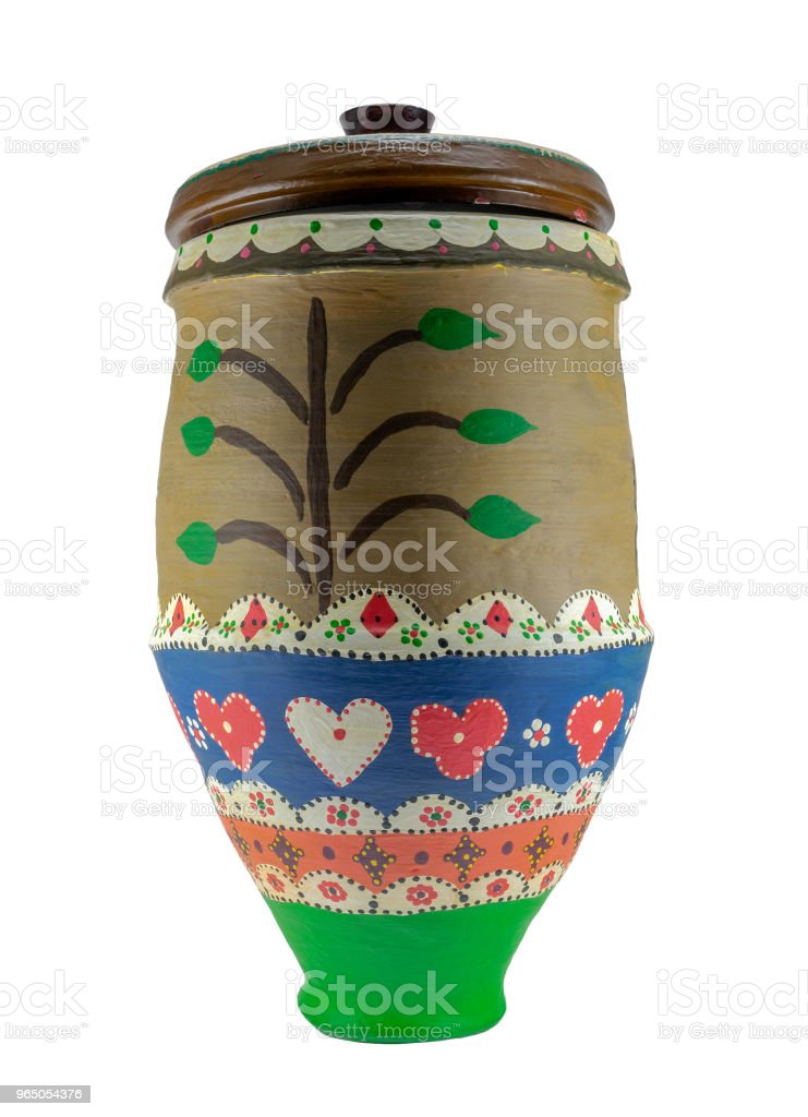 Colorful Egyptian handcrafted decorated artistic pottery jar royalty-free stock photo