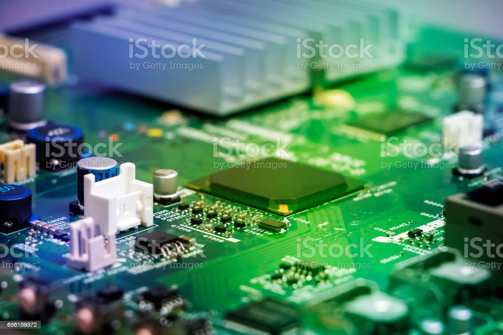 colorful electric circuit board abstract image visual stock photo