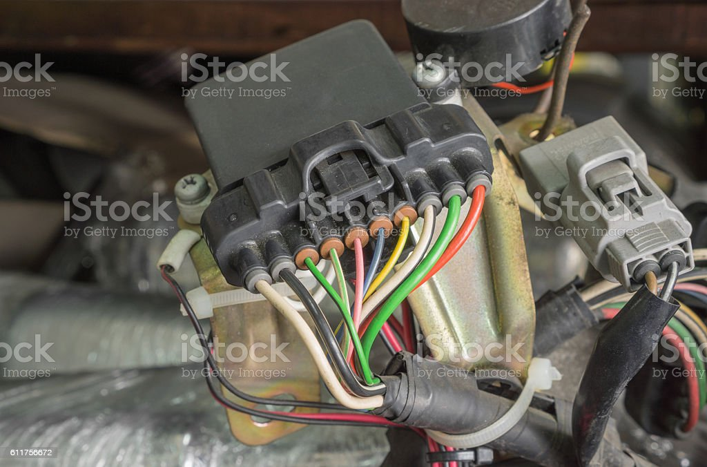 Colorful electric wiring stock photo