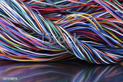Colorful electrical cables in telecommunication network