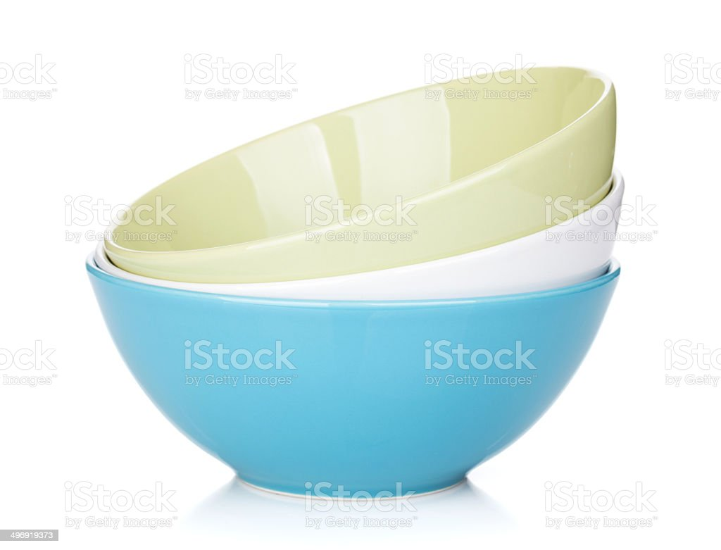 Colorful empty bowls stock photo