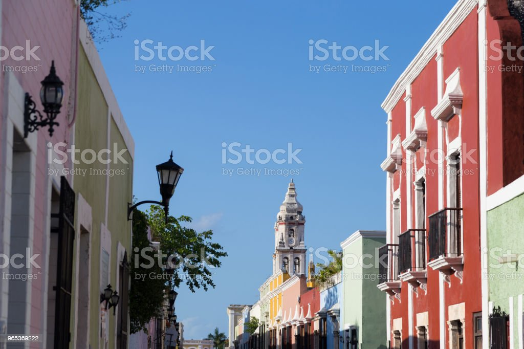 Colorful empty colonial street in the historic center of Campeche. royalty-free stock photo