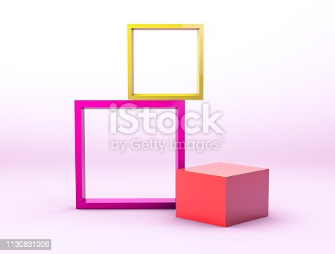 1129130415 istock photo Colorful empty picture frames backdrop for product display with geometric 3d elements. 1130831026
