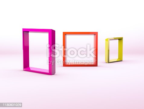 1129130415 istock photo Colorful empty picture frames backdrop for product display with geometric 3d elements. 1130831029