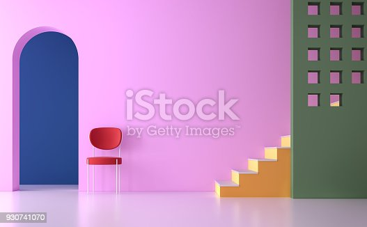 istock Colorful empty room 3d render 930741070