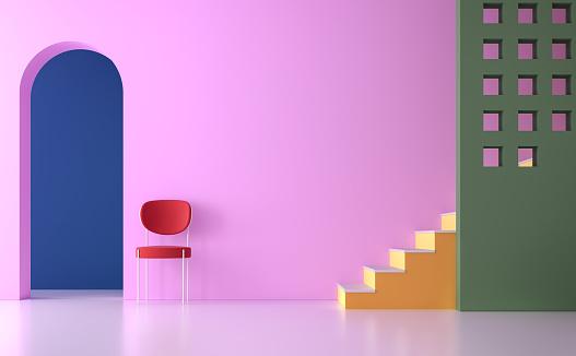 istock Colorful empty room 3d render 930741070