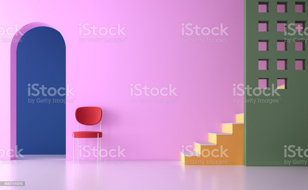 Colorful empty room 3d render stock photo